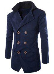 Color Block Spliced Turn-Down Collar Double Breasted Long Sleeve Woolen Men's Peacoat - CADETBLUE