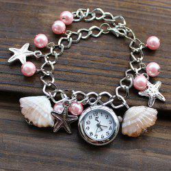 SL004 Shell Starfish Bead Pendant Quartz Watch Chain Wristwatch for Women - PINK