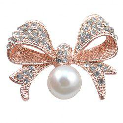 Graceful Rhinestoned Faux Pearl Bow Shape Brooch For Women -