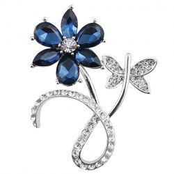 Faux Crystal Rhinestone Flower Shape Brooch -