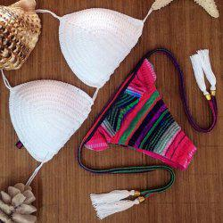 Stylish Halter Color Spliced Tassel Embellished Bikini Set For Women