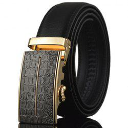 Stylish Crocodile Skin Shape and Bar Embellished Auto Buckle Belt For Men