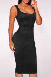 Attractive Low-Cut U-Neck Solid Color Sleeveless Bodycon Velvet Dress For Women -