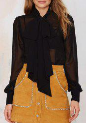 Alluring Bow Collar See-Through Long Sleeve Blouse For Women -