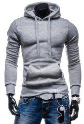 Laconic Drawstring Hooded Solid Color Front Pocket Fitted Men's Long Sleeves Hoodie - LIGHT GRAY