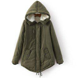 Stylish Long Sleeves Drawstring Hooded Coat For Women - ARMY GREEN