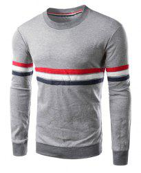 Crew Neck Stripe Long Sleeve T Shirt -