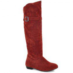 Buckled Pull On Knee High Boots - RED