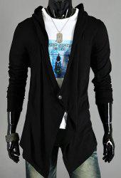 Asymmetric One Button Single-Breasted Solid Color Hooded Long Sleeves Men's Cardigan - BLACK