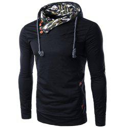 Inclined Single-Breasted PU Leather Spliced Elbow Patch Camo Hooded Long Sleeves Men's Hoodie -