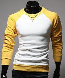 Classic Color Lump Splicing Round Neck Long Sleeves Men's Slimming T-Shirt -