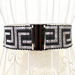 Retro Style Elastic High Waist Wide Waistband - SILVER