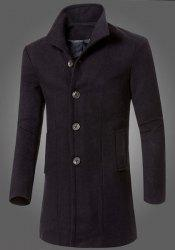 Slimming Turn-Down Collar Long Sleeve Lengthen Single-Breasted Woolen Men's Coat -