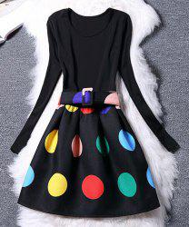 Women's Chic Long Sleeve Scoop Neck Colorful Dress -