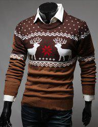 Color Spliced Christmas Snowflake Deer Jacquard Round Neck Long Sleeves Men's Thicken Sweater - EARTHY