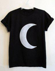 Casual Round Neck Moon Print Short Sleeve T-Shirt For Women -