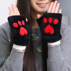 Pair of Chic Bear Paw Shape Embellished Downy Fingerless Gloves For Women