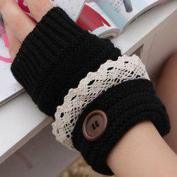Pair of Chic Button and Lace Embellished Knitted Fingerless Gloves For Women -