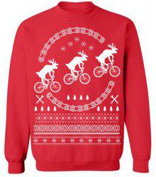 Fresh Style Stand Collar Elk Printed Fleeced Pullover Sweatshirt For Women - RED S