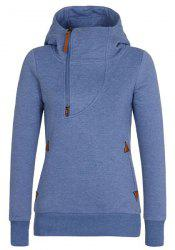 Active Skew Half Zippered Hooded Thick Hoodie For Women