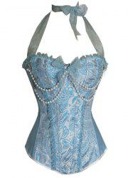 Stylish Halter Beaded Slimming Corset For Women - BLUE