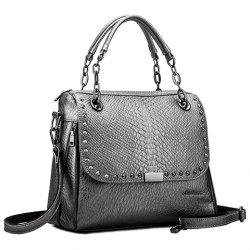 Retro Rivet and Embossing Design Women's Tote Bag - SILVER GRAY