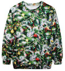 Stylish Round Neck Long Sleeve Bell and Tree Print Women's Christmas Sweatshirt - GREEN ONE SIZE(FIT SIZE XS TO M)
