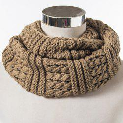 Chic Solid Color Loop Stripy Knitted Infinity Chunky Scarf For Women - KHAKI