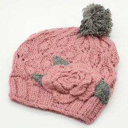 Chic Big Flower Embellished Hollow Out Knitted Beanie For Women -