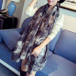 Chic Five-Pointed Star and Splash-Ink Pattern Fringed Warmth Scarf For Women -