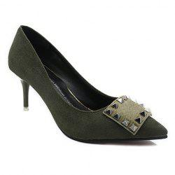 Office Lady Rivet and Suede Design Women's Pumps -
