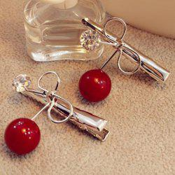 Dolce Faux Pearl Rhinestone Bowknot Hairpin For Women - RED