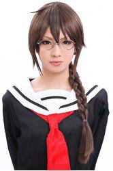 Fluffy Long Black Brown Durarara Orihara Mairu Neat Bang Heat Resistant Synthetic Cosplay Anime Wig with Braiding -
