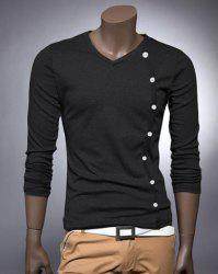V Neck Button Embellished Slimming Long Sleeve Men's T-Shirt -