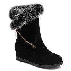 Stylish Flat Heel and Faux Fur Design Women's Mid-Calf Boots - BLACK
