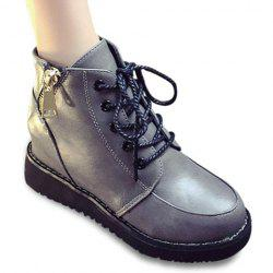 Fashion Lace-Up and Zip Design Women's Short Boots - GRAY