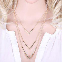 Vintage Layered V Shaped Necklace - GOLDEN