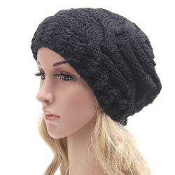 Chic Solid Color Hemp Flowers Slouchy Knitted Beanie For Women -