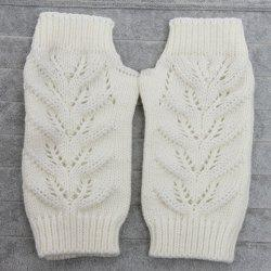 Pair of Chic Hollow Out Crochet Knitted Fingerless Gloves For Women -