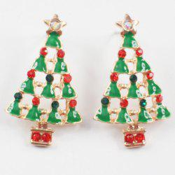 Pair of Cute Rhinestone Christmas Tree Shape Jewelry Earrings For Women
