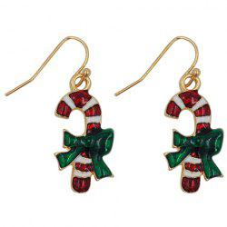 Pair of Graceful Candy Cane Shape Christmas Earrings Jewelry For Women -