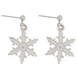 Pair of Cute Snowflake Christmas Earrings Jewelry For Women -