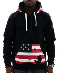 Hot Sale Drawstring Hooded American Flag Print Front Pocket Long Sleeves Men's Thicken Hoodie -