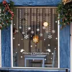 Removeable Snowflake Curtain Pattern Wall Sticks Christmas Decoration