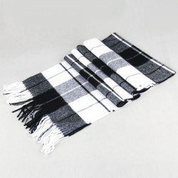 Stylish Plaid Pattern Tassel Scarf For Men -