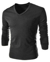 Single-Breasted Shoulder Design One Pocket Solid Color V-Neck Long Sleeves Men's Slim Fit T-Shirt - DEEP GRAY