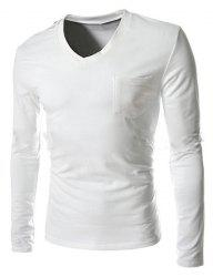 Unique à poitrine épaule Design Un Pocket Solid Color col en V Slim Fit manches longues T-shirt - Blanc