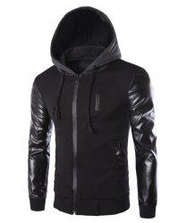 Vogue Drawstring Hooded PU Leather Spliced Zipper Design Long Sleeves Men's Slimming Jacket - BLACK