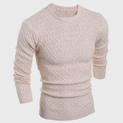 Round Neck Solid Color Argyle Pattern Long Sleeve Men's Sweater -