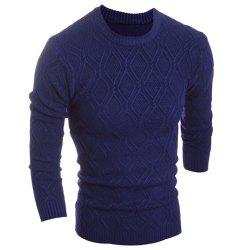 Round Neck Solid Color Argyle Pattern Long Sleeve Men's Sweater